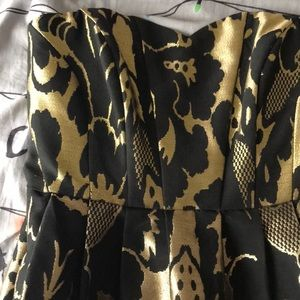 Strapless Brocade Mini Dress